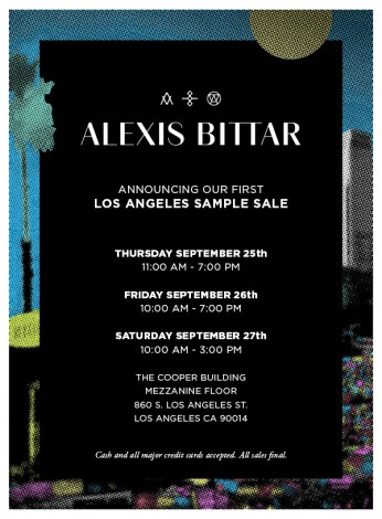 ALEXIS BITTAR'S FIRST EVER LA SAMPLE SALE! 9/25-9/28 @ COOPER BUILDING- MEZZANINE FLOOR | Los Angeles | California | United States