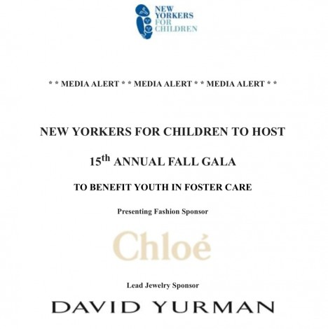 New Yorkers for Children to host 15th annual Fall Gala @ New York | New York | United States