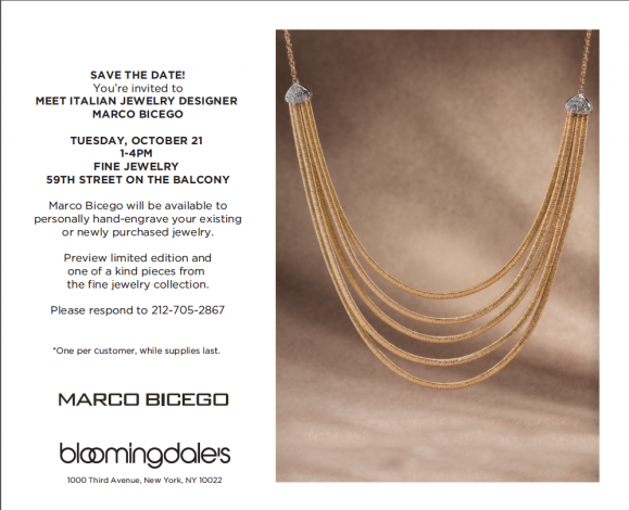 Meet Italian Jewelry Designer Marco Bicego at Bloomingdale's 59th Street @ Bloomingdale's   New York   New York   United States