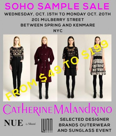 Soho Sample Sale Featuring Catherine Malandrino And Nue By Shani @ New York | New York | United States