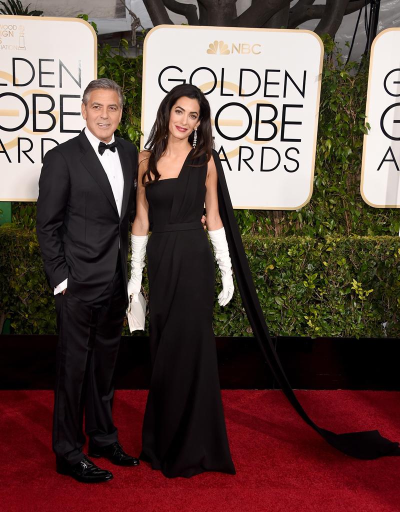 George Clooney in Giorgio Armani and  Amal Alamuddin Clooney in Dior Haute Couture