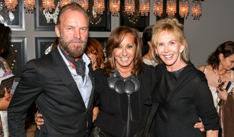 Sting, Donna Karan, Trudie Styler==Donna Karan's 'My Journey' book release party==Urban Zen, NYC==October 14, 2015==©Patrick McMullan==photo - J Grassi/PatrickMcMullan.com====