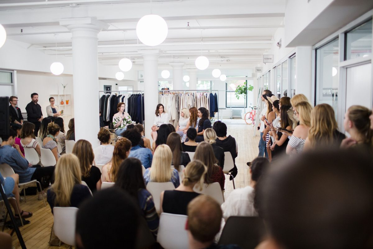 Brand Assembly x The Style Line Panel featuring Ann Shoket, Marissa Smith, Sarah Slutsky, and Rachel Fletcher; moderated by Rachel Schwartzmann and Hillary France. Photo: Bridget Badore