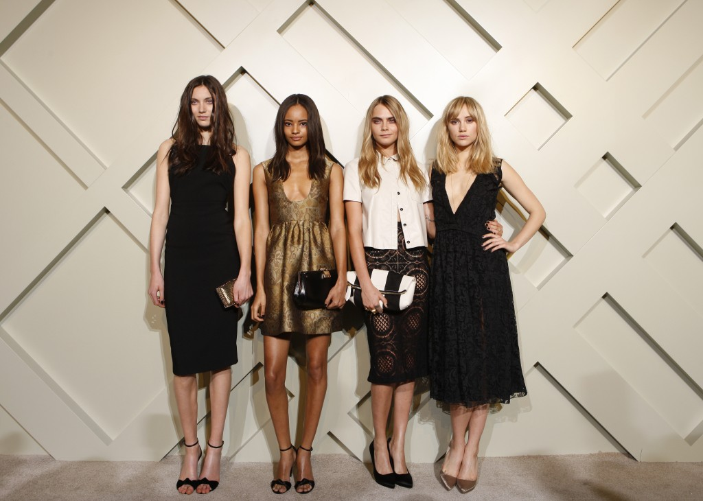 Matilda Lowther, Malaika Firth, Cara Delevingne, Suki Waterhouse wearing Burberry at the Burberry event celebrating London in Shanghai, 24 April 2014_1