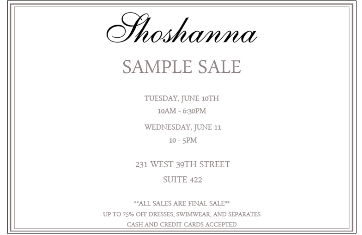 Shoshanna Sample Sale @ New York | New York | United States