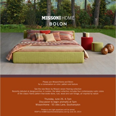 Missoni Home And Bolon Host An In-Store Conversation @ MissoniHome | Southampton | New York | United States
