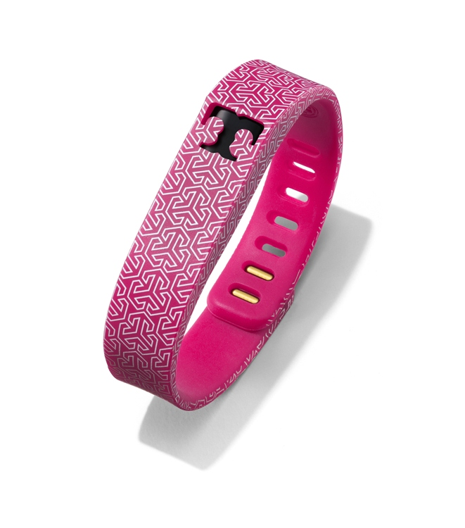 Tory Burch for Fitbit Silicone Printed Bracelet in Fuchsia Multi 2