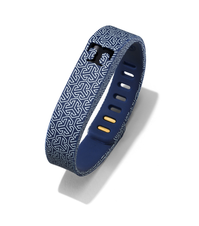 Tory Burch for Fitbit Silicone Printed Bracelet in Tory Navy 2