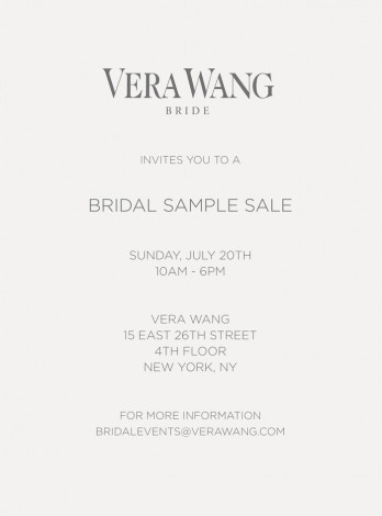 Vera Wang Bridal Sample Sale  @ Vera Wang - 4th floor  | New York | New York | United States