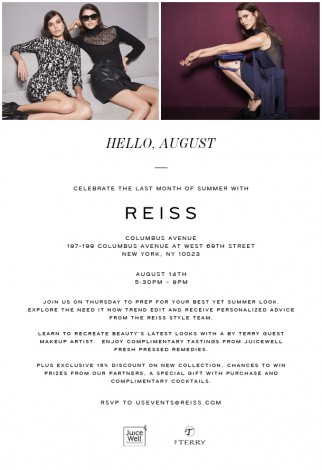Reiss Summer Style Event  @ Reiss Columbus Avenue | New York | New York | United States
