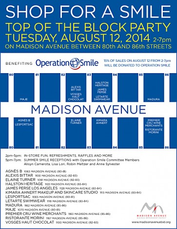 The First Annual Shop for a Smile - Top of the Block Party @ Madison Avenue between 80th and 86th Street