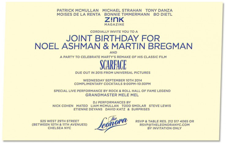 Z!NK Magazine Presents Noel Ashman and Martin Bregman's Joint Celebrity Studded Birthday Party at The Leonora @ The Leonora | New York | New York | United States
