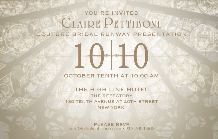 Claire Pettibone 20th Anniversary Runway Show @ The Refectory at The High Line Hotel | New York | New York | United States