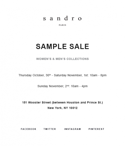 SANDRO SAMPLE SALE @ 260SAMPLESALE | New York | New York | United States