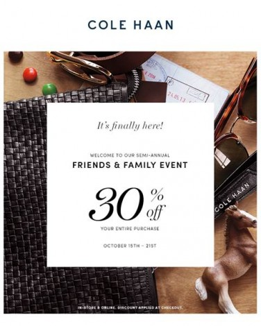 Cole Haan's Semi-Annual Friends And Family Event @ Cole Haan | New York | New York | United States