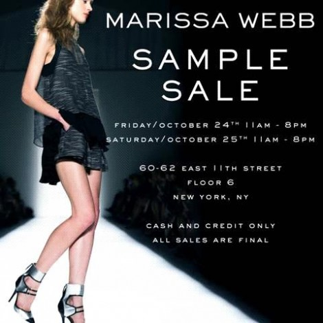 Marissa Webb sample sale, October 24 and 25 @ Marissa Webb Showroom | New York | New York | United States