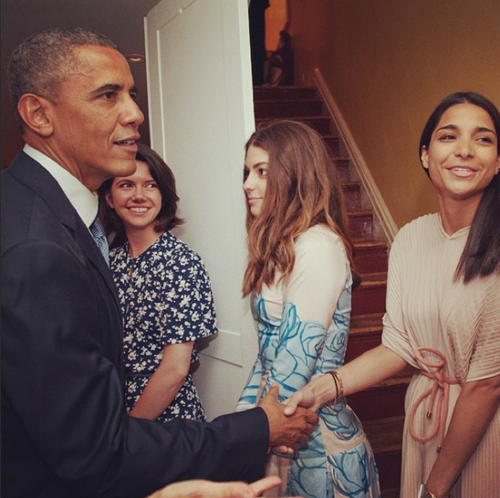 """PJ with the Prez ❤️ #obama"""