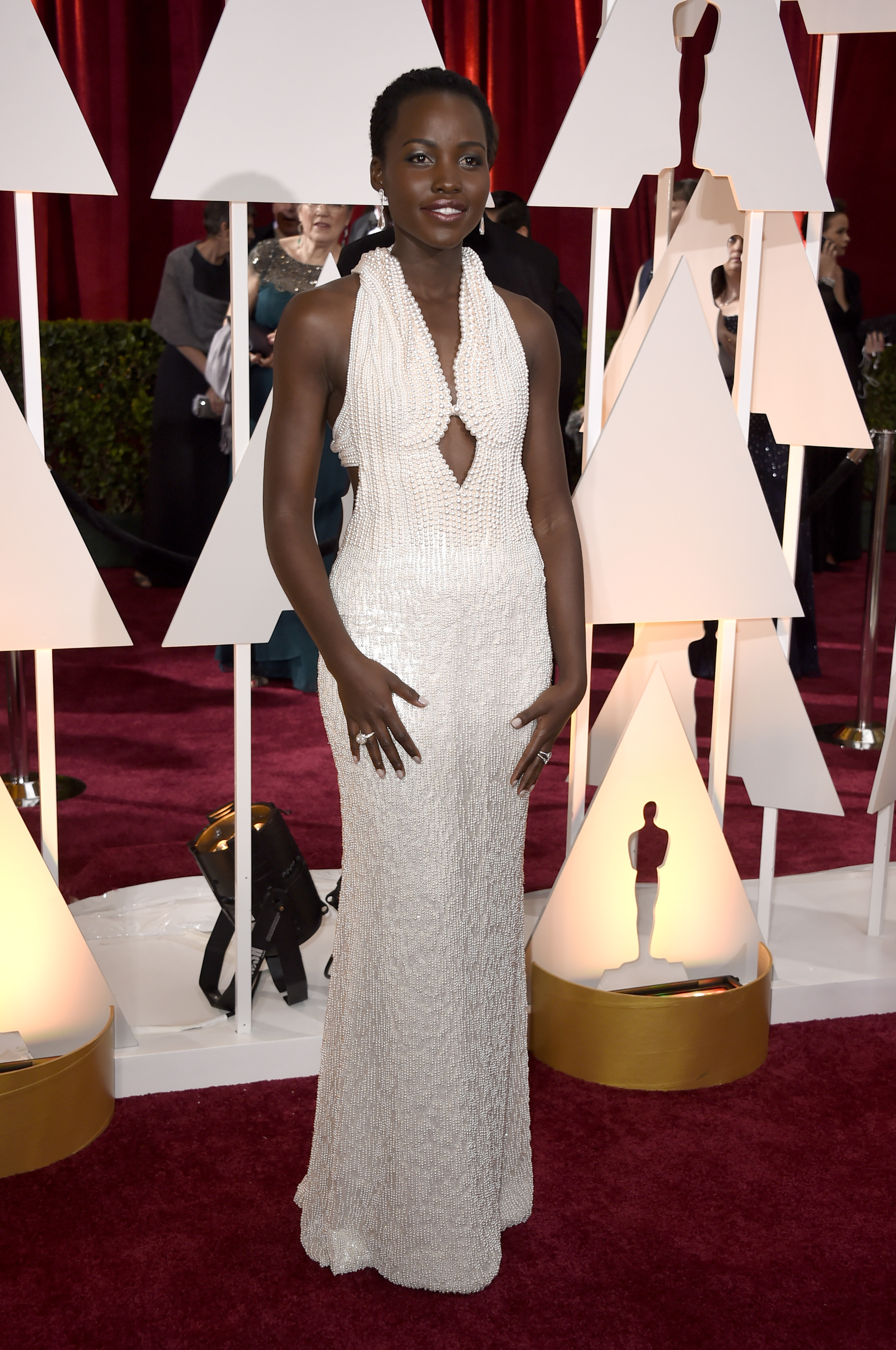 Lupita Nyong O S Pearl Encrusted Calvin Klein Collection Oscars Dress Was Stolen