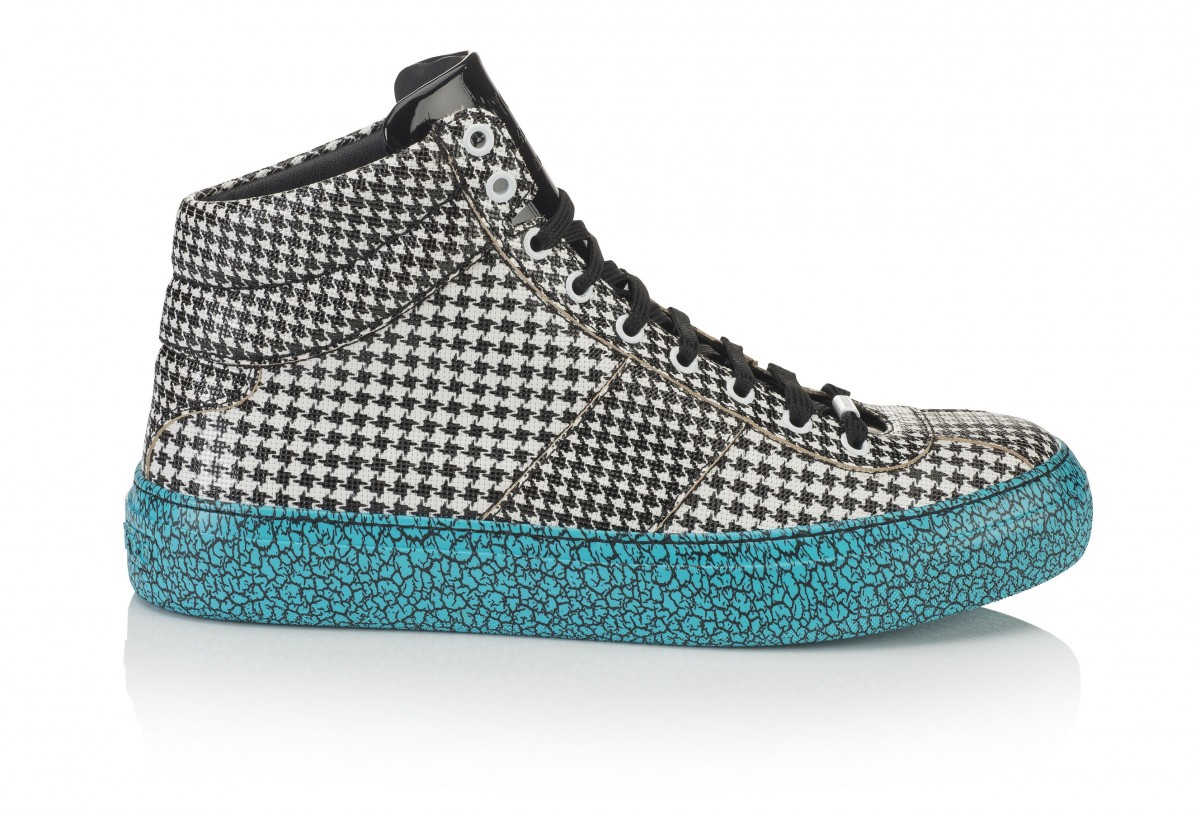 BELGRAVIA- HOUNDSTOOTH PRINTED LEATHER MIX- BLACK WHITE