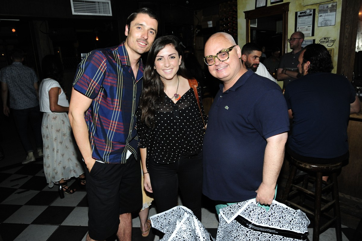 James Lawrence, Christine Flammia, Mickey Boardman== Asos Menswear Cocktail Party== Blind Barber, NYC== July 7, 2015== ©Patrick McMullan== Photo - Paul Bruinooge/PatrickMcMullan.com== ==