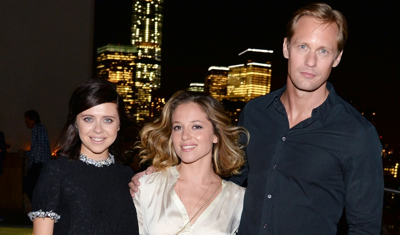 """Bel Powley, Margarita Levieva, Alexander Skarsgard== Sony Pictures Classics with The Cinema Society host the after party for """"The Diary of a Teenage Girl""""== Jimmy at the James Hotel, NYC== August 5, 2015== ©Patrick McMullan== Photo - Clint Spaulding/PatrickMcMullan.com== =="""
