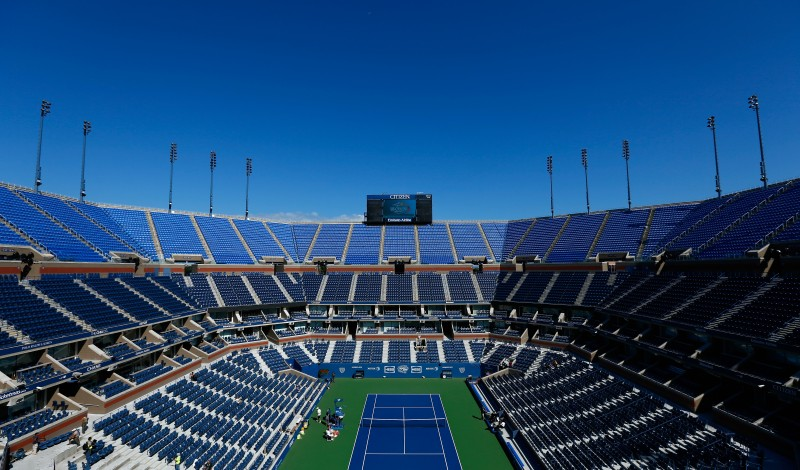 NEW YORK, NY - AUGUST 24:  A general view of Arthur Ashe Stadium during previews for the US Open tennis at USTA Billie Jean King National Tennis Center on August 24, 2014 in New York City.  (Photo by Julian Finney/Getty Images)