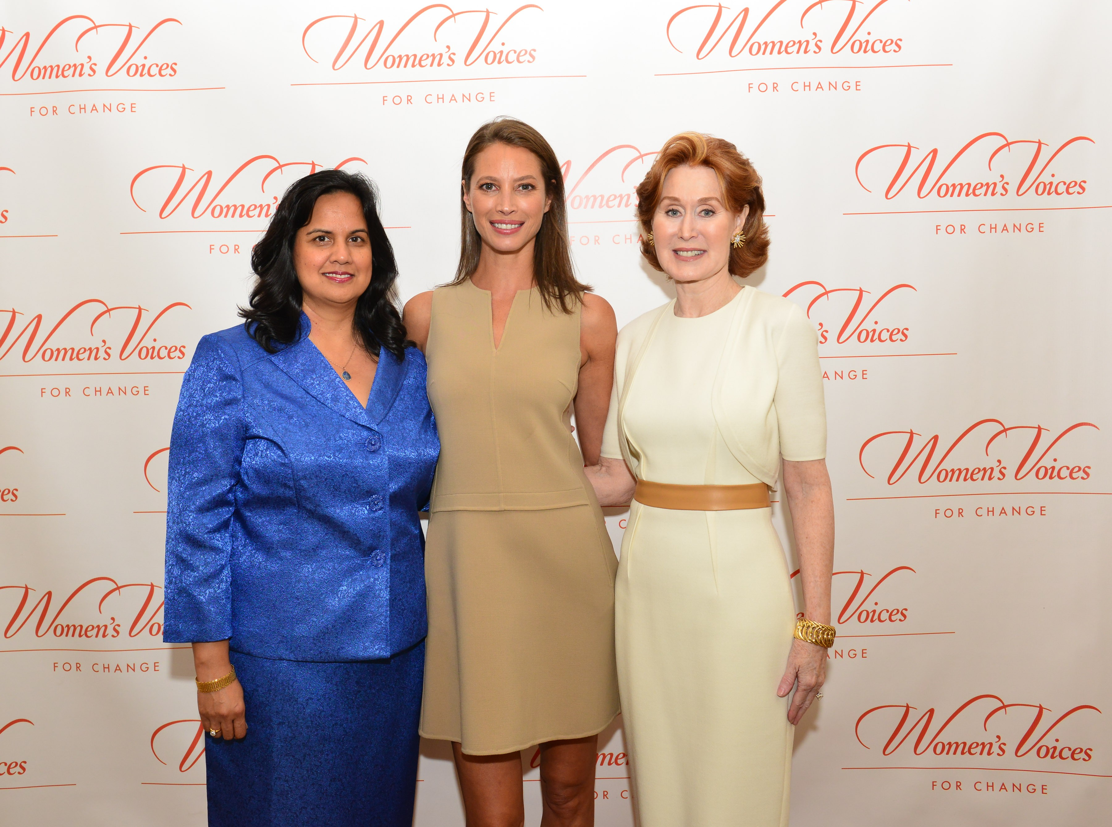 Sharmila Makhija, Christy Turlington, Dr. Patricia Allen==Women's Voices for Change Luncheon in honor of Christy Turlington Burns, 2015 Champion For Change==Private Manhattan Club, NYC==September 21, 2015==©Patrick McMullan==Photo - Jared Siskin/patrickmcmullan.com== ==