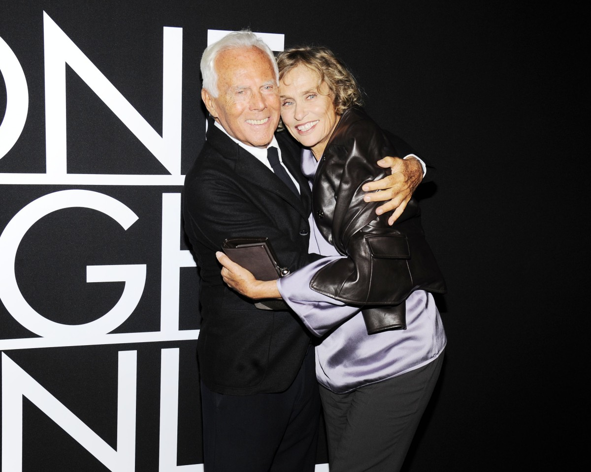 Giorgio Armani, Lauren Hutton, (wearing Giorgio Armani)==Armani - One Night Only - SuperPier - New York City - ARRIVALS==SuperPier, NYC==October 24, 2013==©Patrick McMullan==Photo - Nicholas Hunt/PatrickMcMullan.com====