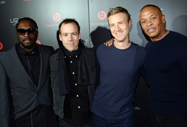 LAS VEGAS, NV - JANUARY 09: (L-R) Recording artist will.i.am, Beats Electronics President Luke Wood, Beats Music CEO Ian Rogers and Beats Electronics Founder Dr. Dre arrive at a Beats by Dr. Dre CES after party at the Light Nightclub at the Mandalay Bay Resort and Casino on January 9, 2014 in Las Vegas, Nevada. (Photo by Ethan Miller/Getty Images for Beats by Dre)