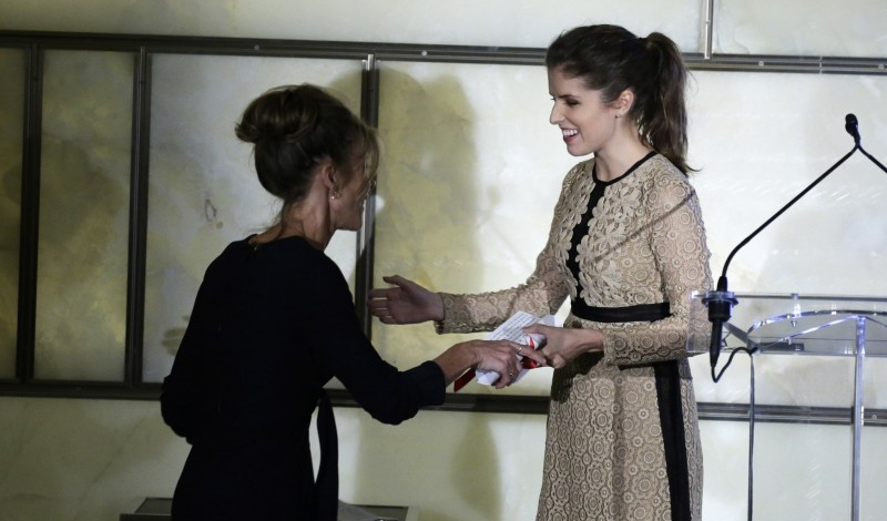 NEW YORK, NY - SEPTEMBER 10:  Robbie Myers (L) receives an award from Anna Kendrick on stage during The Daily Front Row's Third Annual Fashion Media Awards at the Park Hyatt New York on September 10, 2015 in New York City.  (Photo by John Lamparski/Getty Images for The Daily Front Row)