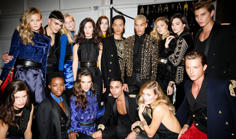 Benjamin Benedek, Kendall Jenner, Gigi Hadid, Constance Jablonski, Dudley O'Shaughnessy, Olivier Rousteing, Maria Borges, Bella Hadid, Alessandra Ambrosio, Vanessa Moody