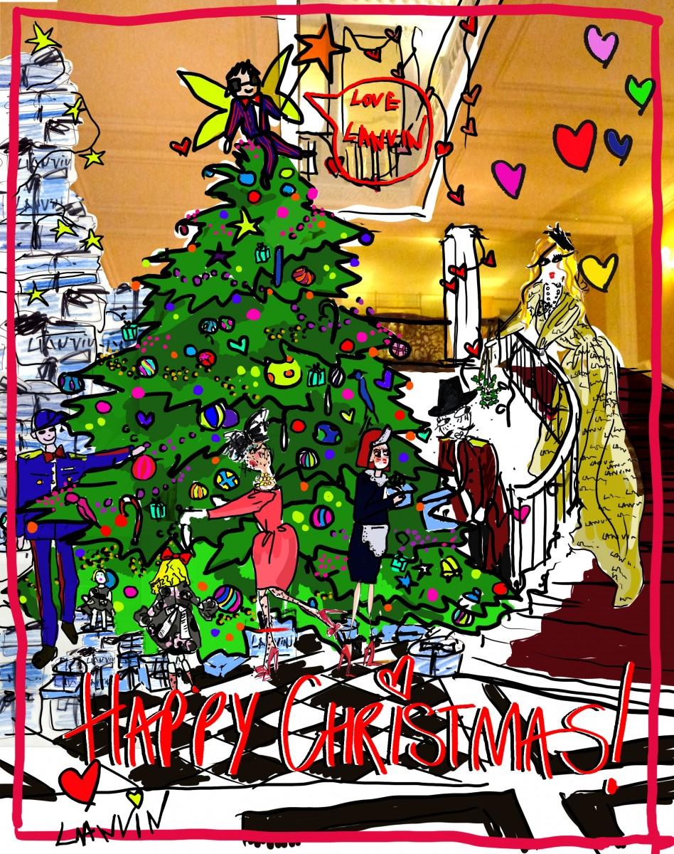 Elbaz drawing Claridge's Christmas Tree 2011