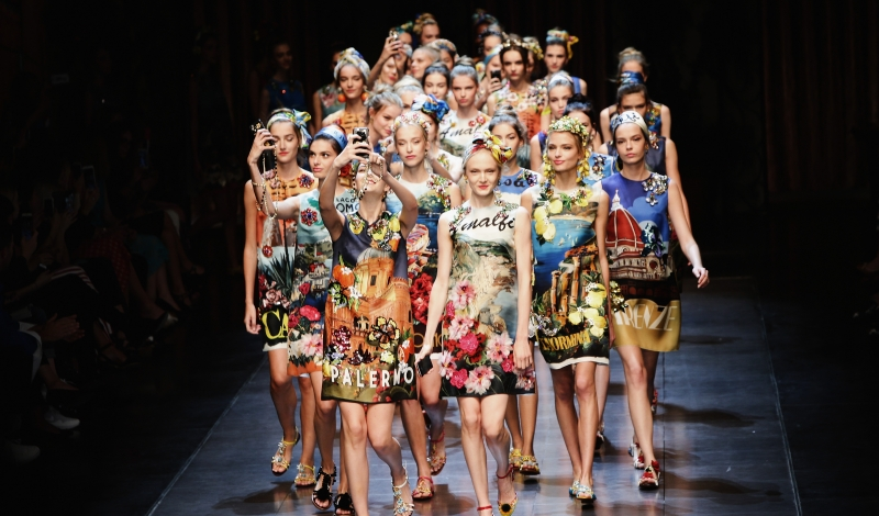 MILAN, ITALY - SEPTEMBER 27:  (EDITORS NOTE: This image has been digitaly altered) An alternative view of models walk the runway during the Dolce & Gabbana fashion show as part of Milan Fashion Week Spring/Summer 2016 on September 27, 2015 in Milan, Italy.  (Photo by Vittorio Zunino Celotto/Getty Images)