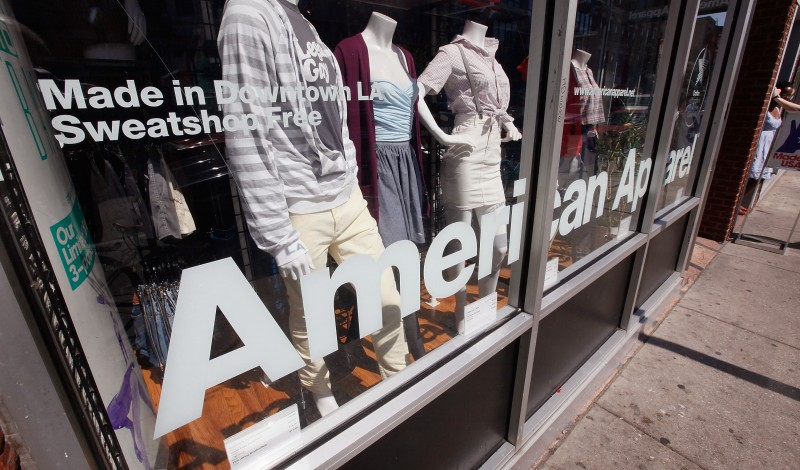 CHICAGO - SEPTEMBER 04:  Clothing is offered for sale at an American Apparel store in the Wicker Park neighborhood September 4, 2009 in Chicago, Illinois. American Apparel Inc. plans to terminate about 1,500 employees in its Los Angeles factory, approximately one-quarter of the work force, following a probe by U.S. immigration authorities.  (Photo by Scott Olson/Getty Images)