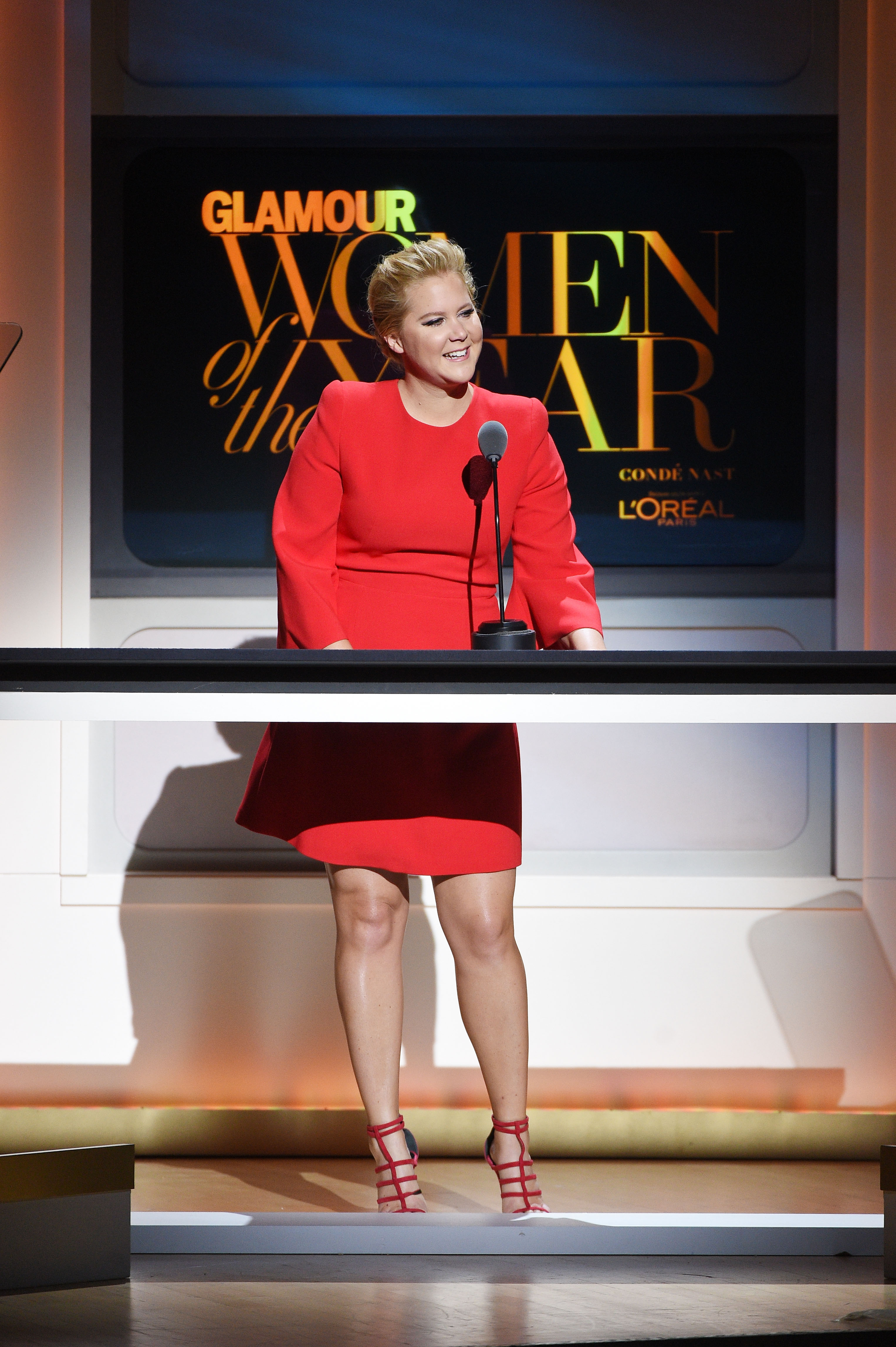 NEW YORK, NY - NOVEMBER 09: Comedian Amy Schumer speaks onstage at the 2015 Glamour Women of the Year Awards on November 9, 2015 in New York City. (Photo by Larry Busacca/Getty Images for Glamour) *** Local Caption *** Amy Schumer