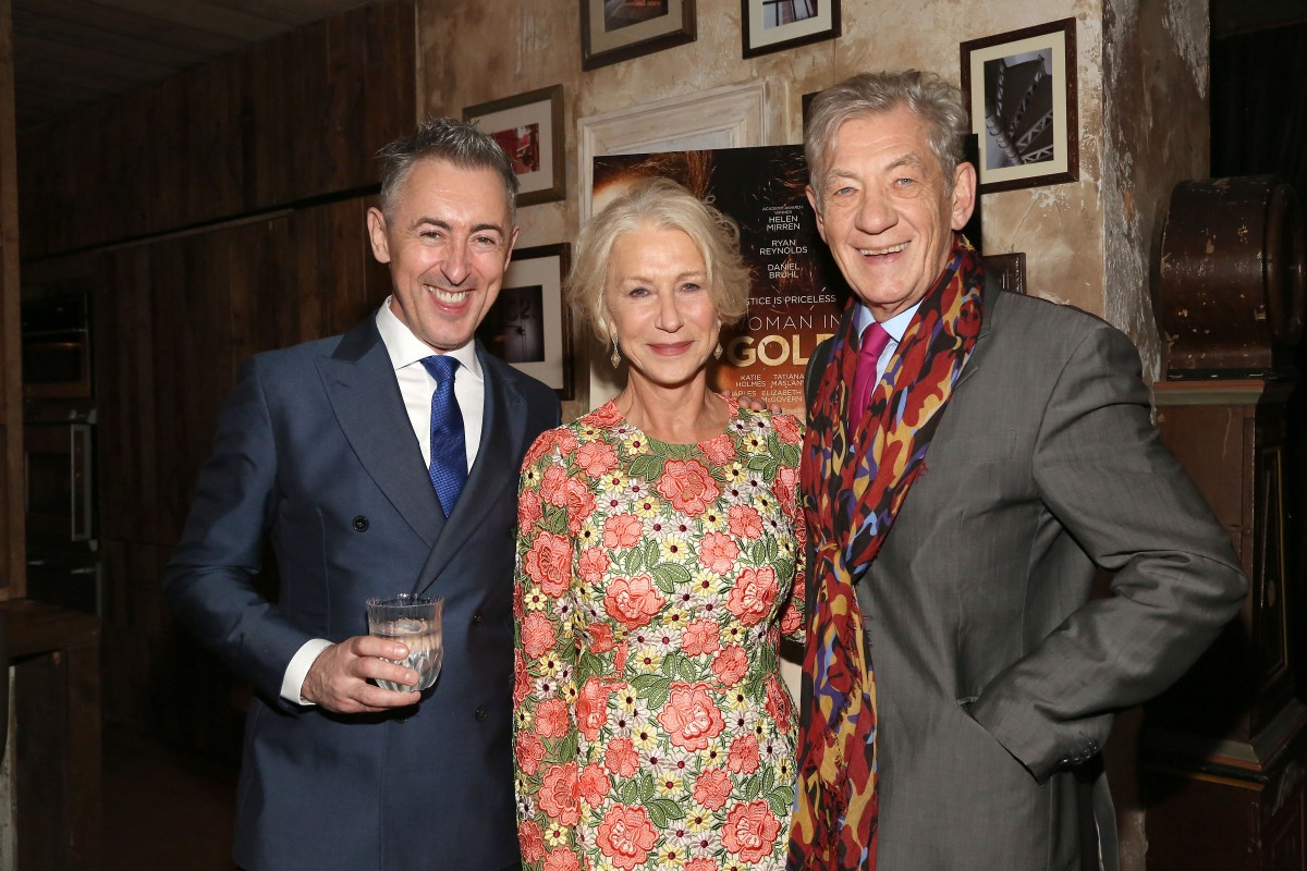 "Alan Cumming, Helen Mirren, Sir Ian McKellen== The Weinstein Company hosts a reception celebrating ""Woman in Gold"" and Helen Mirren== House of Elyx, 400 West 14th Street, NYC== December 02, 2015== ©Patrick McMullan== Photo: Sylvain Gaboury/PMC== =="