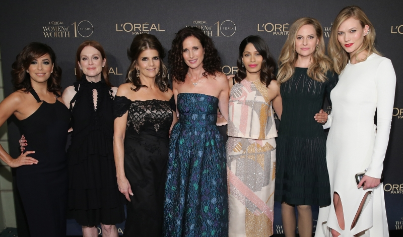NEW YORK, NY - DECEMBER 01:  (L-R)Actors Eva Longoria, Julianne Moore, President of L'Oreal Paris USA Karen T. Fondu, Andie MacDowell, Freida Pinto, L'Oreal Paris Spokesperson Aimee Mullins, and model Karlie Kloss attend the L'Oreal Paris Women of Worth 2015 Celebration - Arrivals at The Pierre Hotel on December 1, 2015 in New York City.  (Photo by Neilson Barnard/Getty Images for L'Oreal Paris)