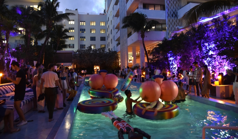 MIAMI BEACH, FL - DECEMBER 05:  A general view of atmosphere at FriendsWithYou X Grey Area Pool Party at Soho Beach House on December 5, 2014 in Miami Beach, Florida.  (Photo by Mike Coppola/Getty Images For Soho House)