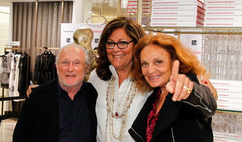 "NEW YORK, NY - APRIL 20:  Stan Herman, Fern Mallis, and Diane Von Furstenberg attend ""Fashion Lives"" book launch>> at Saks Fifth Avenue on April 20, 2015 in New York City.  (Photo by Thomas Concordia/Getty Images)"