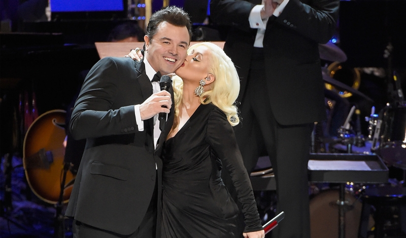 NEW YORK, NY - DECEMBER 03:  Seth MacFarlane, Christina Aguilera, and New York Philharmonic Music Director Alan Gilbert perform onstage during the Sinatra Gala with New York Philharmonic at Lincoln Center's David Geffen Hall on December 3, 2015 in New York City.  (Photo by Kevin Mazur/Getty Images for Lincoln Center)