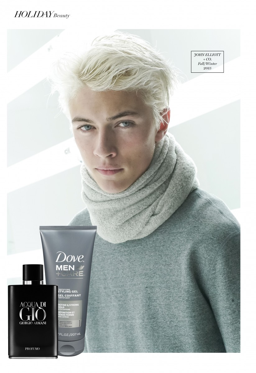 Lucky Blue Smith backstage at the John Elliott + Co. Fall show, BFANYC.com