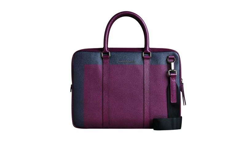 MenswearBurberryColour Block London Leather Crossbody Briefcase - Bordeaux