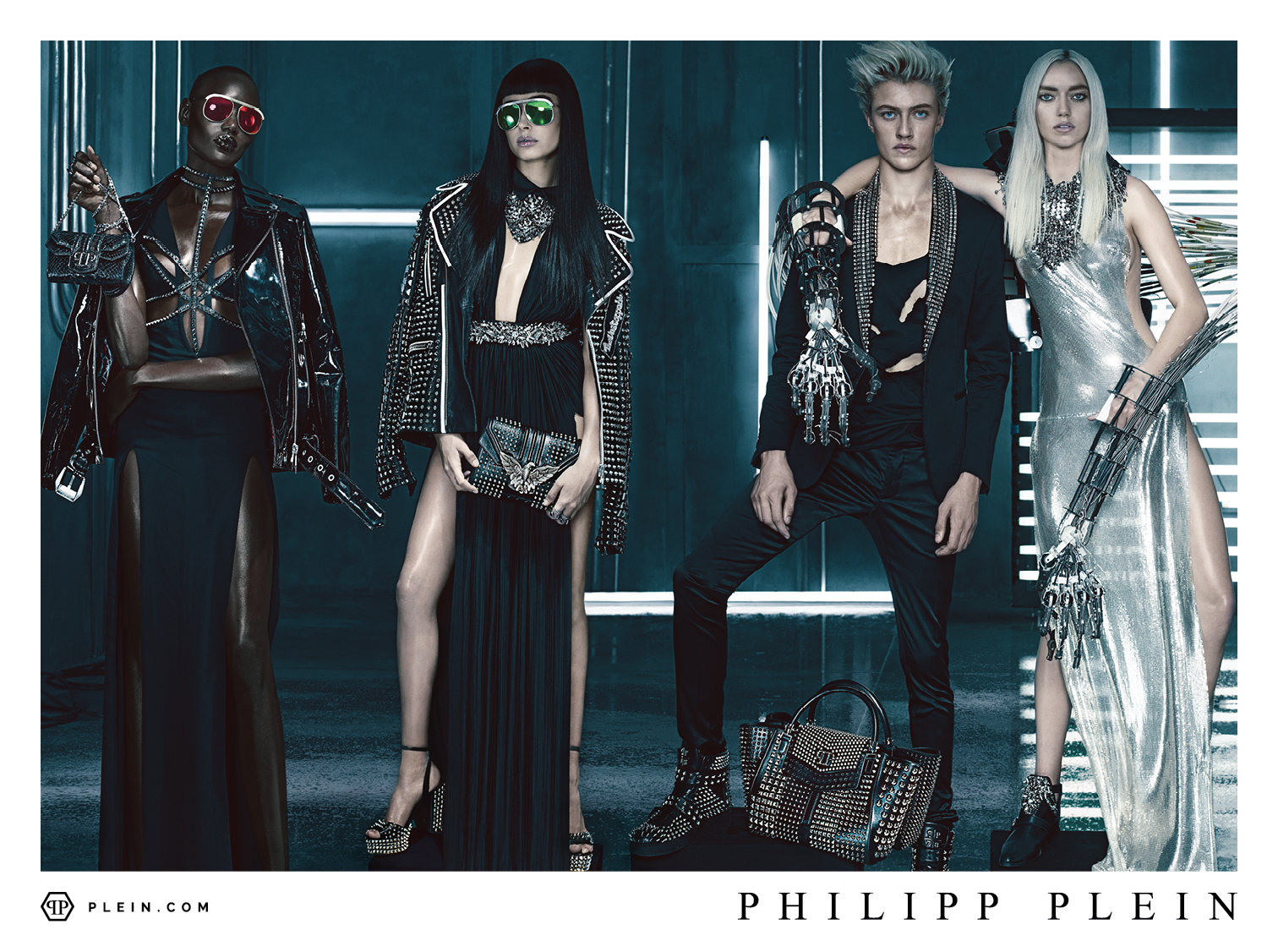Lucky Blue Smith, Hailey Baldwin in Philipp Plein SS '16 Campaign's Model Quartet
