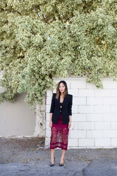 aimee_song_of_style_red_midi_skirt_black_blazer_embellished_pumps
