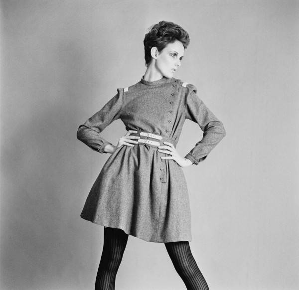 British model Grace Coddington showing a grey flannel day dress and buckle belt by Christiane Bailly, 18th April 1967. (Photo by McKeown/Express/Hulton Archive/Getty Images)