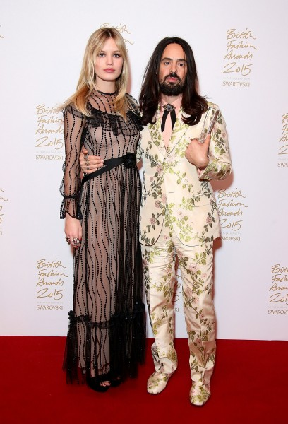 Gucci's Alessandro Michele and Georgia May Jagger at the British Fashion Awards 2015 at London Coliseum on November 23, 2015 in London, England.