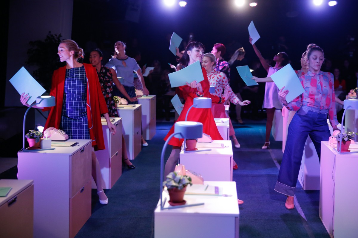 Broadway performers sing and dance while wearing Rachel Antonoff