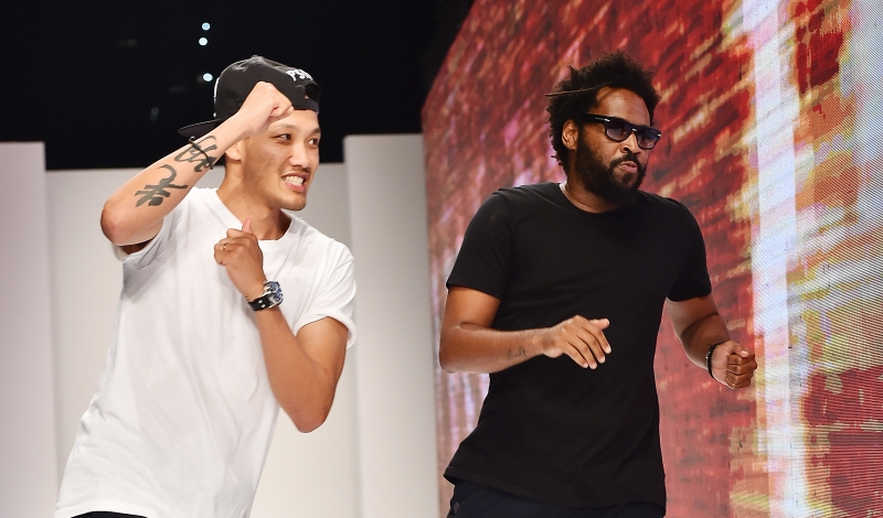 DUBAI, UNITED ARAB EMIRATES - NOVEMBER 09:  Designers Dao-Yi Chow and Maxwell Osborne walk the runway at the Public School show at Dubai Design District on November 9, 2015 in Dubai, United Arab Emirates.  (Photo by Stefania D'Alessandro/Getty Images)