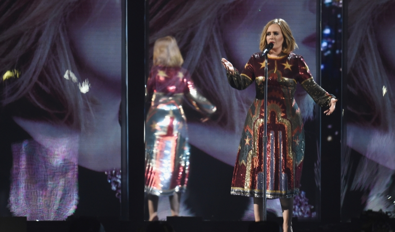 LONDON, ENGLAND - FEBRUARY 24:  Adele performs on stage during the BRIT Awards 2016 at The O2 Arena on February 24, 2016 in London, England.  (Photo by Ian Gavan/Getty Images)