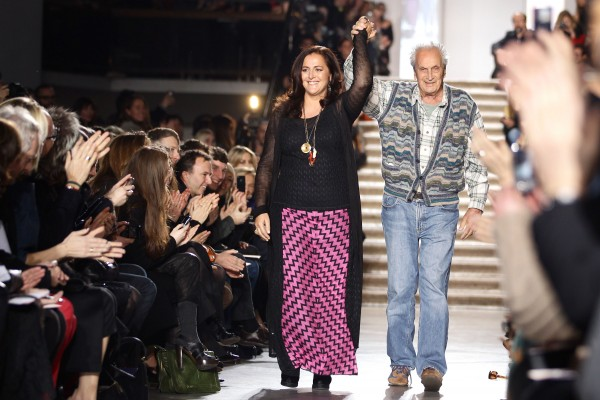MILAN, ITALY - FEBRUARY 27: L-R Angela Missoni and Ottavio Missoni aknowledge the applause of the public after the Missoni fashion show as part of Milan Fashion Week Womenswear Autumn/Winter 2011 on February 27, 2011 in Milan, Italy. (Photo by Vittorio Zunino Celotto/Getty Images)